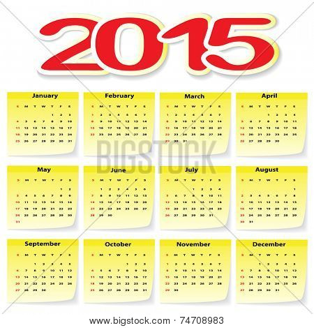 Calendar 2015 in yellow Stickers. Illustration