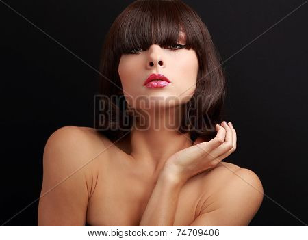 Sexy Woman With Bob Hair Style Looking Sexy On Black
