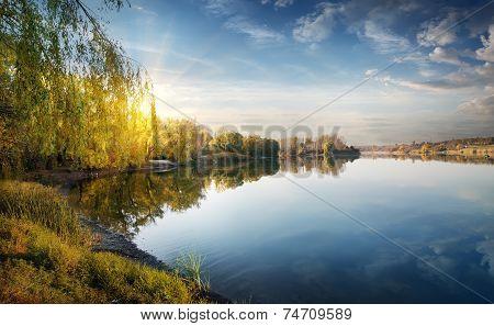 Morning sun over river