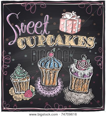 Sweet cupcakes chalkboard design. Eps10