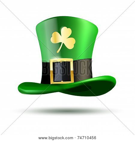 Green Hat With Golden Clover Leaf