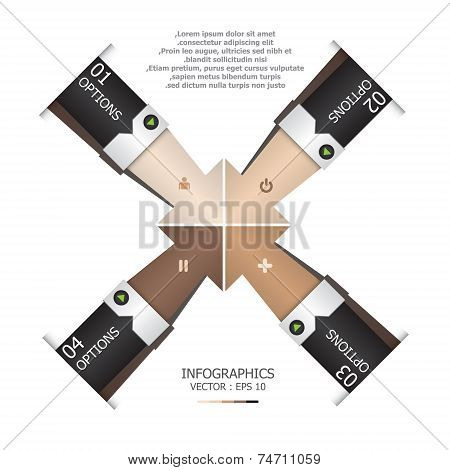 Abstract Arrows Human Hand Shake Infographic Design Template