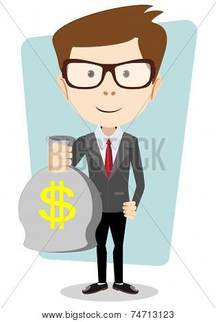Businessman with a Bag of Gold Cash Dollar. Vector Illustration