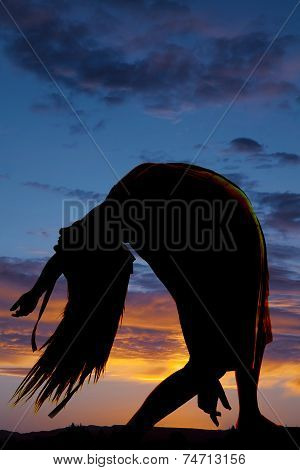 Silhouette Woman Bend Over Back