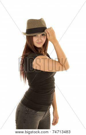 Woman Black Shirt Hat Hand On Rim