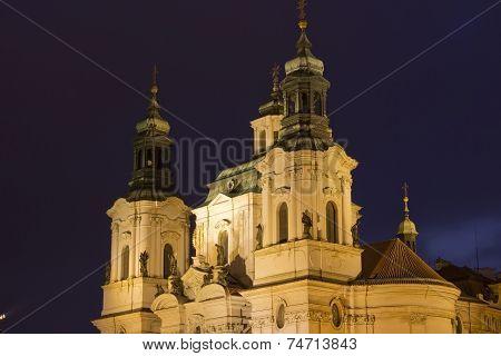 St. Nicholas Church In Prague At Night, Czech Republic
