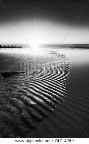 Beautiful Low Tide Beach Vibrant Sunrise Black And White