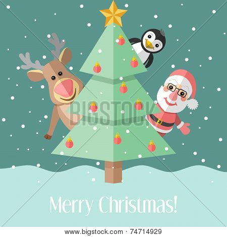 Christmas Card With Fir Tree And Christmas Characters