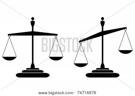 Justice scales-balanced and tilted