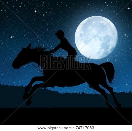 Silhouette of a rider on a running horse in night.