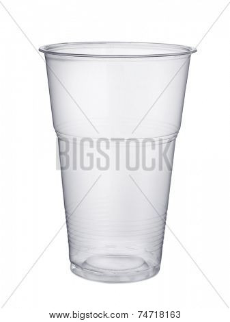 Disposable plastic pint glass isolated on white