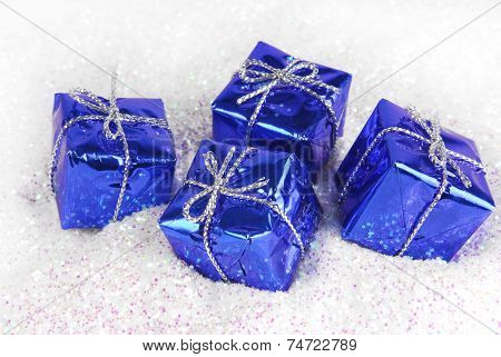 gift boxes on glitter
