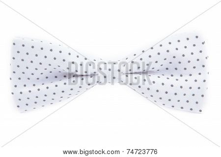 White Bow Tie With Polka Dots Isolated On White Background