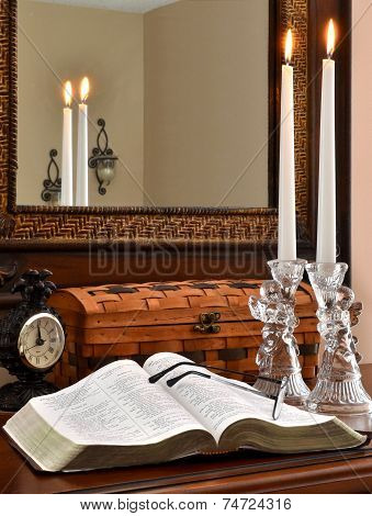 Open Bible with Glass Angels, Lit Candles and Clock-1