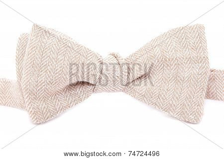 Elegant Bright Bow Tie Made ??of Linen On White Background