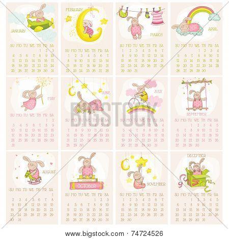 Baby Bunny Calendar 2015 - week starts with Sunday - in vector