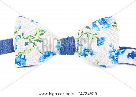 Summer Flower Print Bow Tie Isolated On White Background