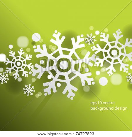 eps10 vector Christmas overlapping snowflakes green background