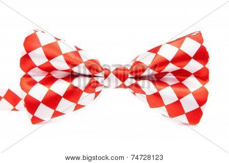 Graceful Bow Tie Red White Box On An Isolated White Background