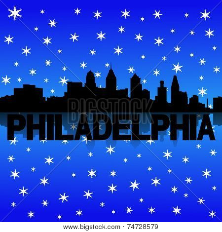 Philadelphia skyline reflected with snow illustration