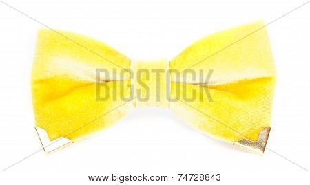 Bow Tie Yellow Color On The Isolated White Background