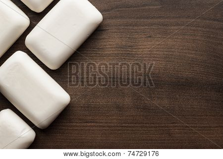 soap bars on the wooden table