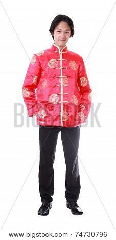 Full Body Portrait Asian Man With Chinese Traditional Cheongsam Or Tang Suit
