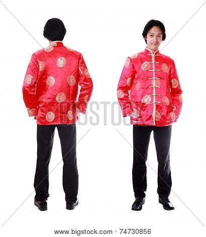 Full Body Front And Back View Asian Man With Chinese Traditional Cheongsam Or Tang Suit. Chinese New
