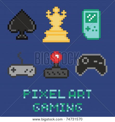 pixel art game design icon set - chess, gamepades, cards, portable console
