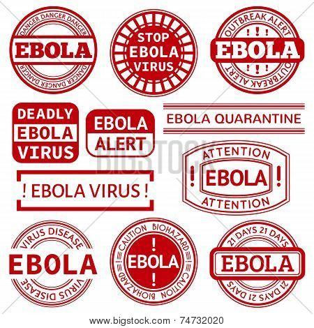 Set of red stamp with Ebola concept text on white background