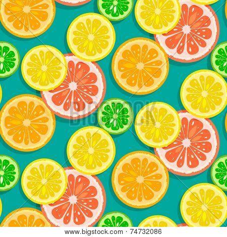 Seamless Citrus Fruits Background Vector (grapefruit,lime,lemon,orange)