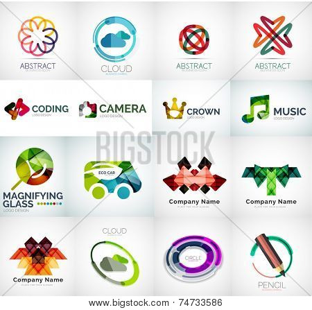 Abstract company logo vector collection - 16 modern various business corporate logotypes