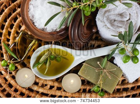 Spa And Wellness Setting With Olive Fruits, Oil And Salt. Top View.
