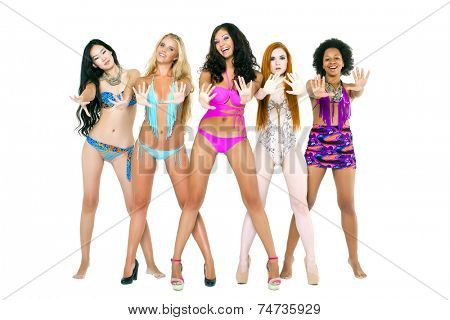 Five young women in bikini - isolated on white