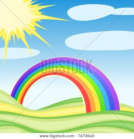 Hintergrund mit Wolken und ein Regenbogen