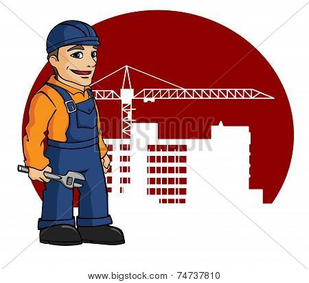 Worker on building site