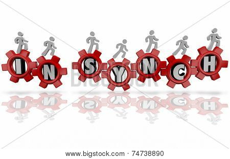 In Synch words in red gears and people working together as team in an organization toward a shared, common goal, mission or objective