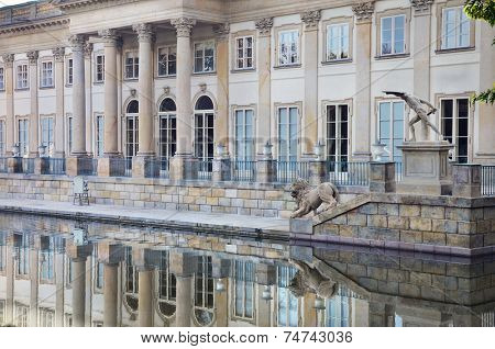 Palace on The Water in Warsaw. North facade with reflexions in the water.