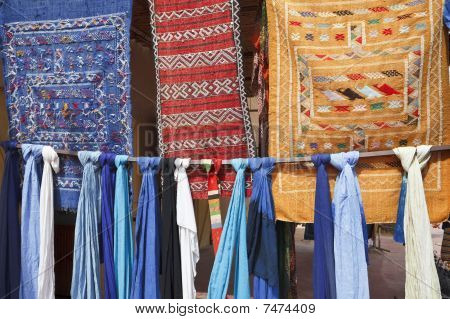 Pieces Of Fabric In Morocco.