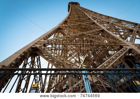 View Of Magnificent Eiffel Tower From First Level.  In Paris, France.