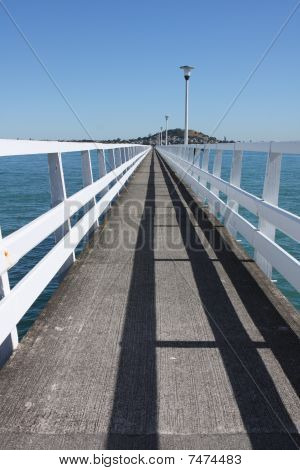 Long Deserted Jetty Into Auckland Harbour