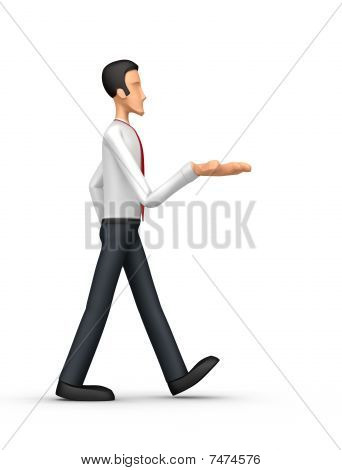 Businessman Comes With Outstretched Arm