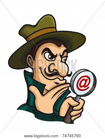 Detective with magnifying glass for web search concept