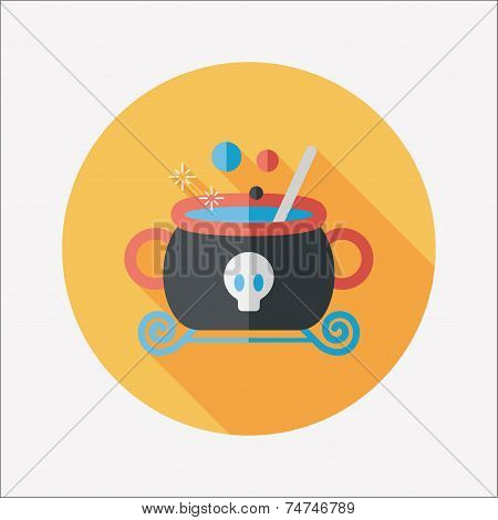 Witches Cauldron Flat Icon With Long Shadow,eps10