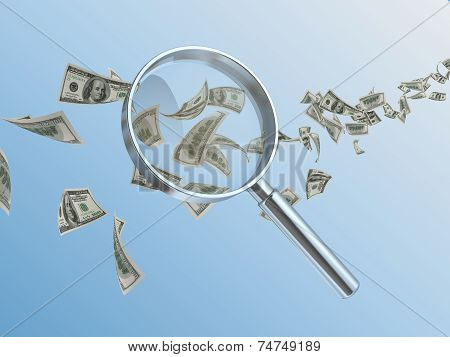 Currency And Hand Lens
