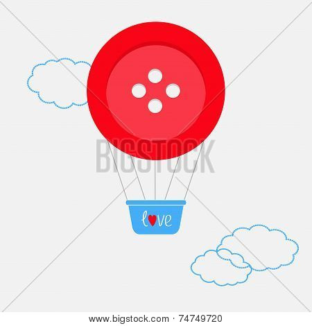 Hot Air Balloon Made Of Big Red Button Dash Line Clouds Flat Design