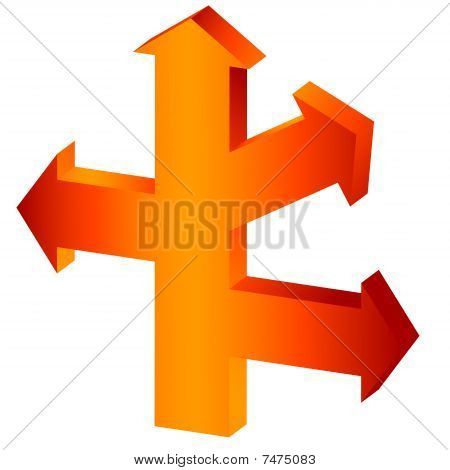 The big orange arrow-index with three lateral branches (vector)