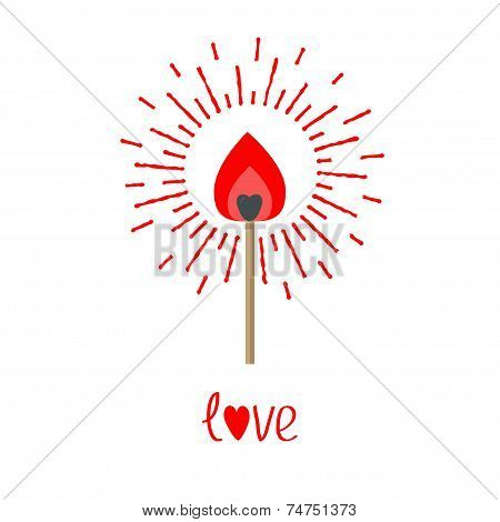 Burning Love Match With Red And Orange Fire Light Shining Sunlight Effect. Isolated Flat Design Styl