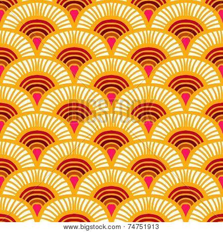 Orange Vintage hand drawn art deco pattern