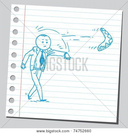 Businessman throwing boomerang